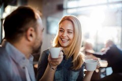 Close up of a couple enjoying coffee in a cafe